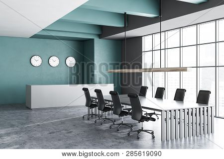 Interior Of Office Meeting Room With Dark Green And Gray Walls, Concrete Floor, Large Window, Long G