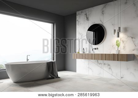 Gray And White Marble Bathroom Corner, Tub, Sink