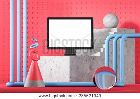 Mock Up Computer Screen, Pink Geometric Background
