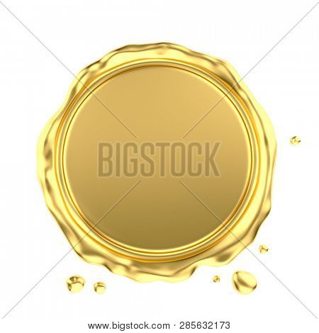 Blank Gold Wax Seal Isolated on White Background. 3D Illustration.