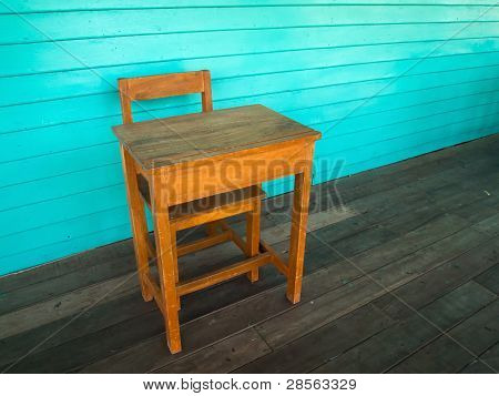 Old Wood Desk And Chair On Wood Floor