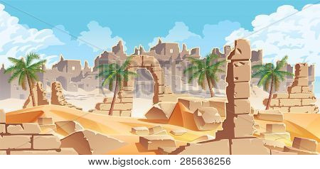 A High Quality Horizontal Background With Desert And Palms. City Ruins On The Horizon. For Use In De