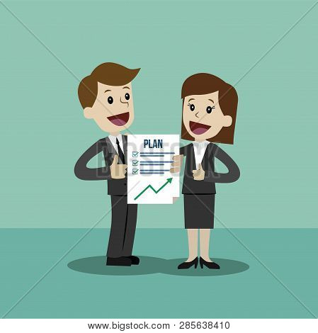 Businessman And Businesswoman Have A Plan. Job Is Finished Successfull