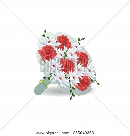 Bouquet Of Red Roses With A Gift Box With Hearts.. Vector Illustration On White Background