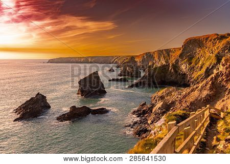 Rock Formation On The South West Coastline In Cornwall , Uk