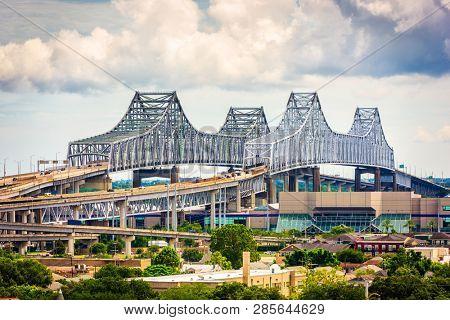 New Orleans, Louisiana, USA at Crescent City Connection Bridge.