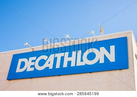 Orihuela, Spain - February 13, 2019: Decathlon Store Is A French Company Of Sporting Goods Distribut