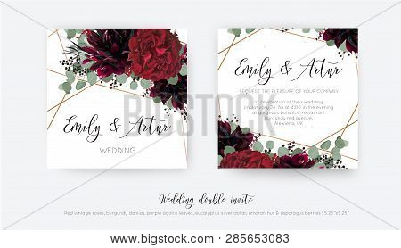 Wedding Vector Floral Invite, Invitation Save The Date Card Design. Watercolor Style Red Wine Rose F