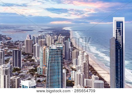 Skyscrapers Right Next To The Ocean Beach - Surfers Paradise, Gold Coast, Australia