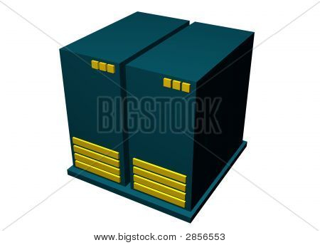 Computer Server - Clip Art Icon Isolated