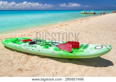 Kayak at the Caribbean Sea in Playa del Carmen, Mexico