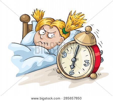 The Early Morning Alarm Clock Rings Causes Stress To The Girl