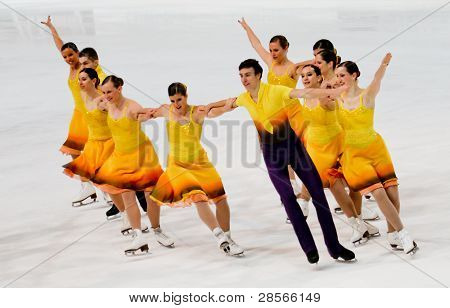 Team Les Atlantides, of France, competes in the 2011 World Synchronized Skating Championships