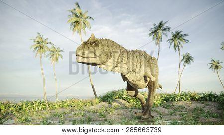 3d rendering of the hunting carnotaurus dinosaur
