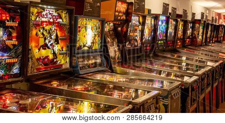 Budapest, Hungary - March 25, 2018: Pinball game museum. Pinball machine table close up view of retro vintage ball arcade