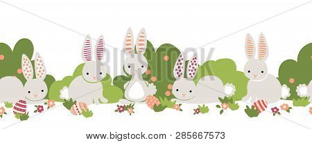 Easter Bunny Seamless Vector Border. Cute Bunnies, Easter Eggs, Flower Bushes Repeating Background.