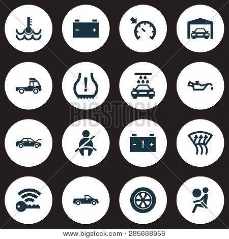 Auto Icons Set With Garage, Airbag, Windscreen Defrost And Other Transport Cleaning Elements. Isolat