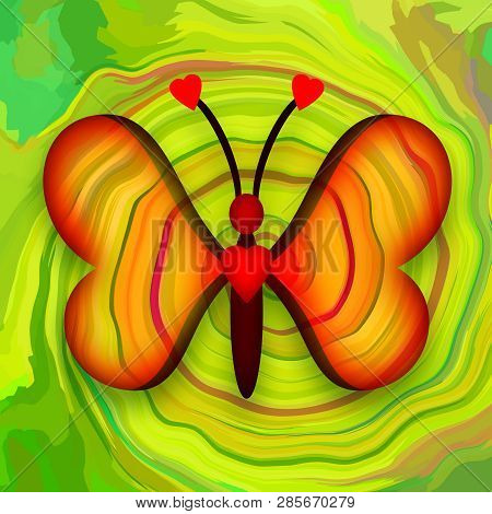Beautiful Decorative Butterfly With Romantic Love Hearts