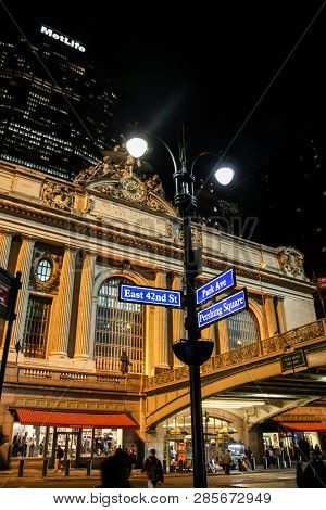NEW YORK, NY - NOVEMBER 05, 2014:  Grand central terminal in New York City  with evening lights.