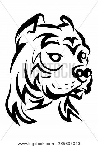 Illustration Of Hideous Pit Bull Dog Tattoo Over Isolated White Background