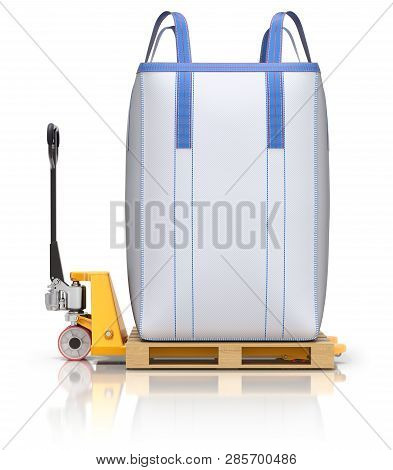 Big Bulk Bag And Pallet Jack On White Reflective Background - 3d Illustration