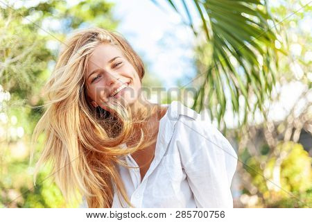 Beautiful Young Happy Blonde Girl With Long Hair In The Summer Spring Park, Beauty Youth Carefree