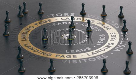 3d Illustration Of An Inbound Marketing Concept With Pawns Around A Golden Landing Page Over Black B
