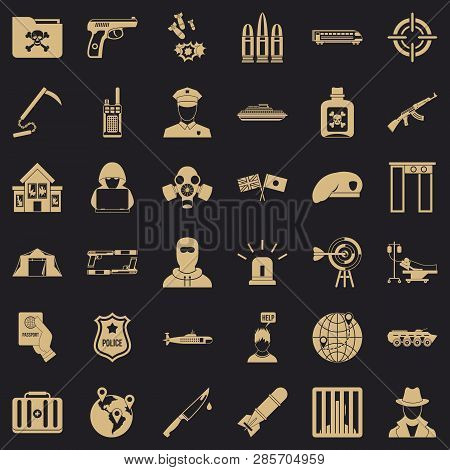 Antiterrorist Struggle Icons Set. Simple Style Of 36 Antiterrorist Struggle Vector Icons For Web For