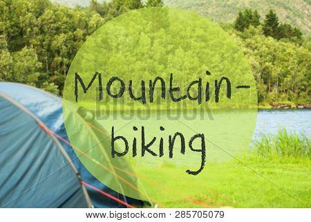 Lake Camping In Norway, English Text Mountainbiking