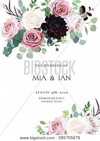 Dusty Pink, Creamy White Antique Rose, Pale Flowers Vector Design Wedding Frame. Eucalyptus, Dark Bu