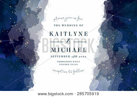 Magic Night Dark Blue Sky With Sparkling Stars Vector Wedding Invite Card. Andromeda Galaxy.gold Gli