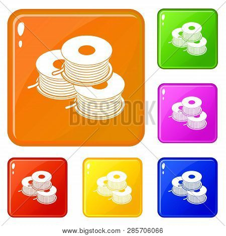 Coil For D Printer Icons Set Collection Vector 6 Color Isolated On White Background