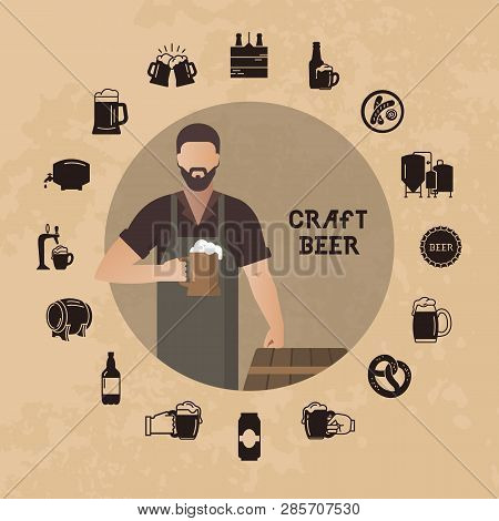 Brewer Own Brewery With A Beer In The Hand Demonstrating Near Barrels In Vector Illustration Plus Be