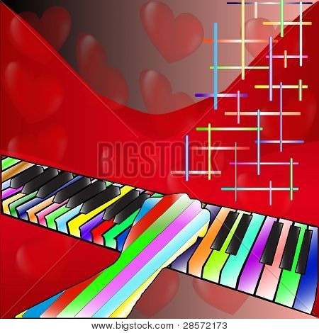 hearts and piano