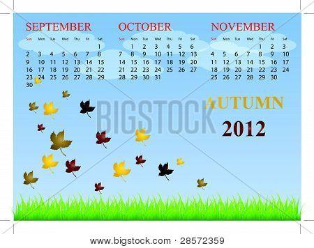 Calendar for autumn 2012