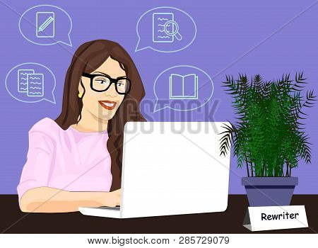 Rewriter Girl Working On Laptop Vector Icon. Concept Of Rewriting Illustration. Woman Typing Article