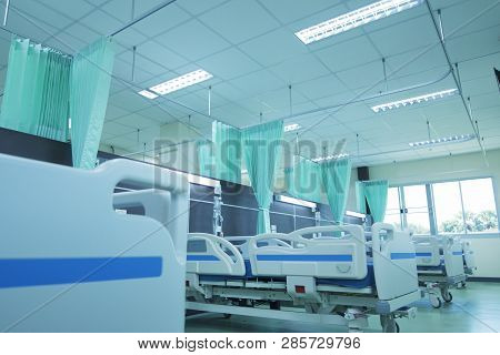 Clean Patient Beds In Hospitals,interior Of Empty Hospital Room,hospital Room With Beds And Comforta