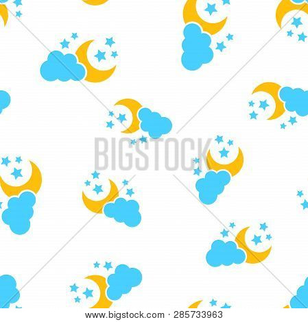 Moon And Stars With Clods Icon Seamless Pattern Background. Business Concept Vector Illustration. Cl