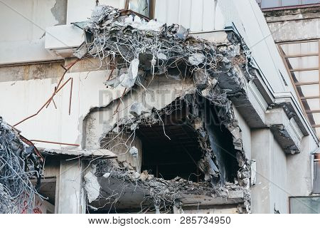 Photo Of Destroyed Building, Protruding Reinforcement/ Demolition Of A Building, House Ruins, Recons