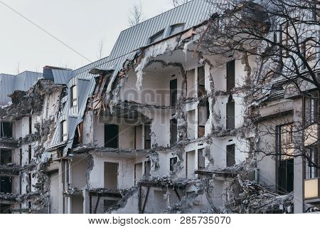 Photo Of Destroyed Building, Former Hotel 5 Stars/ Demolition Of A Building, House Ruins, Rebirth, R