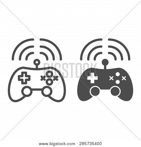 Wireless Game Controller Line And Glyph Icon. Joypad Vector Illustration Isolated On White. Game Con