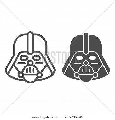 Darth Vader Line And Glyph Icon. Star Wars Vector Illustration Isolated On White. Space Character Ou