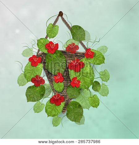 Modern Basket With Flowers, Mocap Of Flowers And Leaves In A Realistic Style. Red Flowers In Wooden,