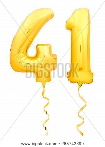 Golden Number Forty One 41 Made Of Inflatable Balloon With Ribbon On White