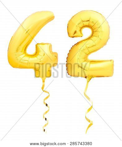 Golden Number Forty Two 42 Made Of Inflatable Balloon With Ribbon On White