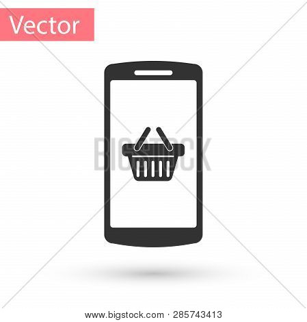 Grey Shopping Basket On Screen Smartphone Icon Isolated On White Background. Concept E-commerce, E-b