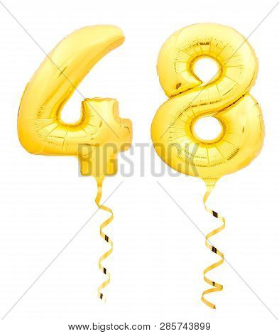 Golden Number Forty Eight 48 Made Of Inflatable Balloon With Ribbon On White