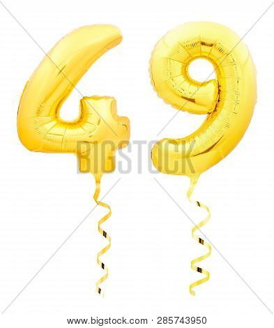Golden Number Forty Nine 49 Made Of Inflatable Balloon With Ribbon On White