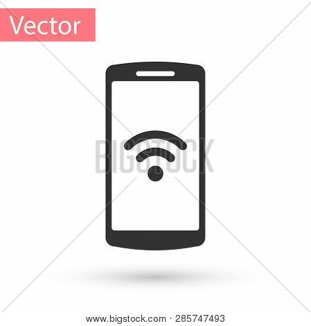 Grey Smartphone With Free Wi-fi Wireless Connection Icon On White Background. Wireless Technology, W
