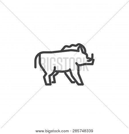 Wild boar side view line icon. linear style sign for mobile concept and web design. boar with tusks outline vector icon. Forest animal symbol, logo illustration. Pixel perfect vector graphics poster